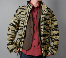 AUG 18AW CAMO Autumn and Winter Tiger Pattern Camouflage M65 Overcoat Heavy-duty Knitted Fabric Heavy Wash Jacket