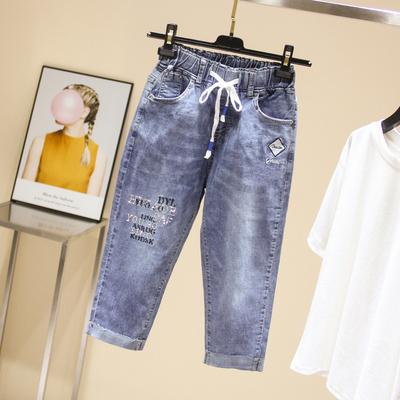【胖心专享】重工刺绣+贴钻高品质大码女装牛仔裤显瘦七分裤
