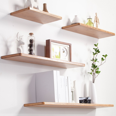 客厅电视墙楠竹隔板一字板书架墙上竹搁板支架简约实木层板置物架