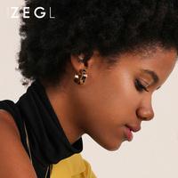 ZEGL豹纹耳环小耳圈女气质韩国简约耳扣百搭性冷淡风耳饰复古耳钉