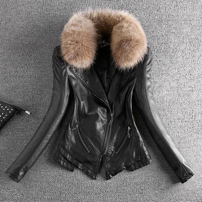 2018新款秋冬韩版大码修身显瘦百搭加厚pu夹克外套毛领皮衣女短款