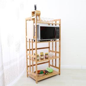 厨房置物架微波炉架子3层4层烤箱架楠竹落地多层收纳储物锅架实木