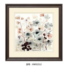 卡农 美式客厅装饰画 实木框双层卡纸立体设计 卧室抽象花卉挂画