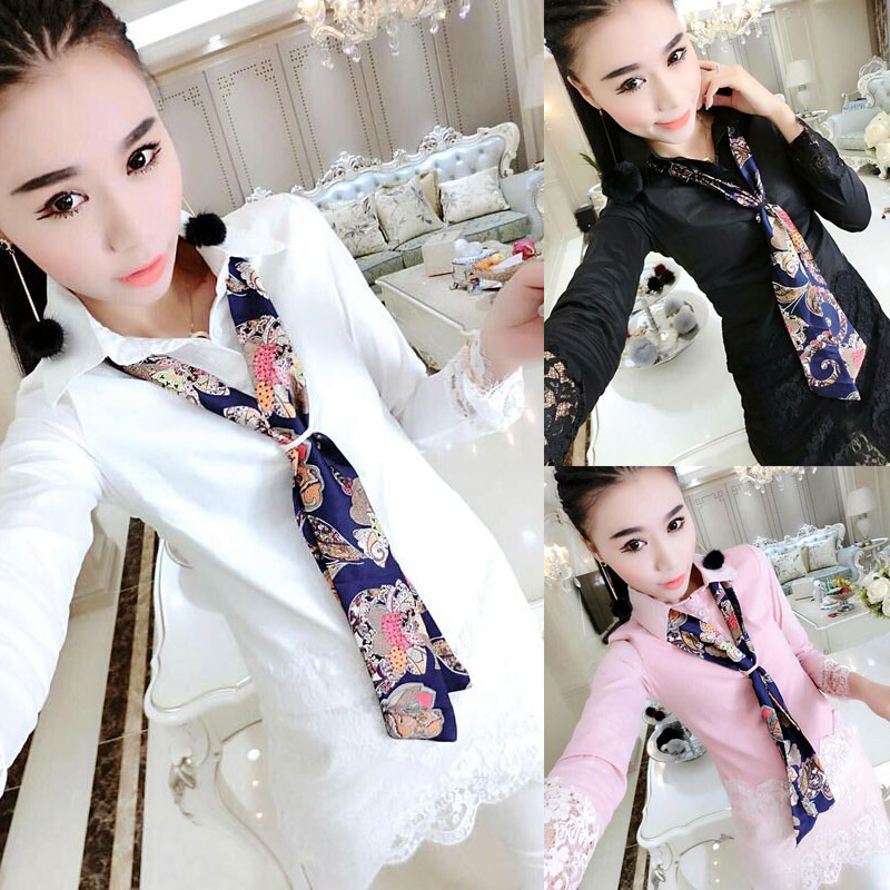 shirt female dress 2018 spring Korean version of the shirt women's long section stitching lace