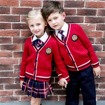 小学生校服秋冬针织毛衣开衫套装儿童班服大合唱演出服幼儿园园服