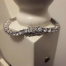 Titanium steel platinum imitation zircon water drill bracelet fashion chain necklace for men hip-hop rap Bracelet