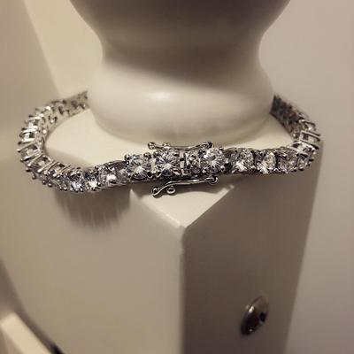 欧美钛钢仿白金微镶锆石水钻手链男士嘻哈说唱手环手镯时尚挂链项