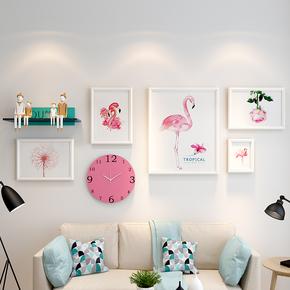 美式餐厅照片墙装饰卧室一面墙相片实木相框沙发墙面挂饰创意组合