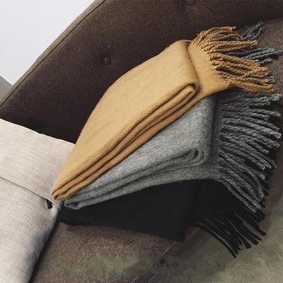 韩版纯色流苏学生百搭仿羊绒围巾加厚男女冬季保暖长款披肩两用黑