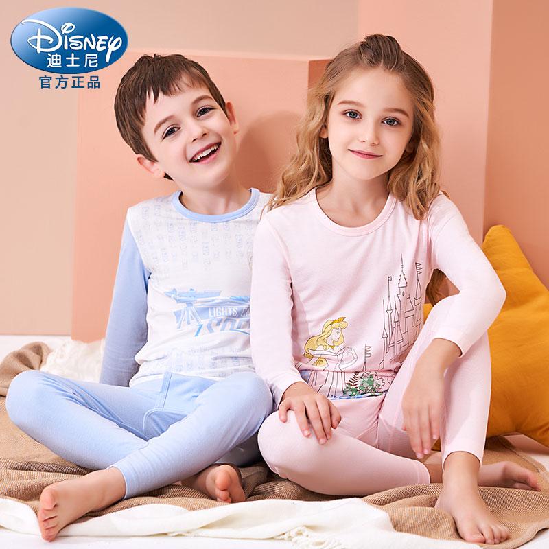 迪士尼儿童内衣套装莫代尔棉薄款男女中大童睡衣家居服秋衣秋裤