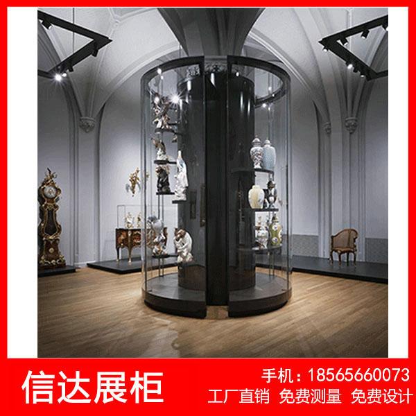 博物馆全景展示柜文物古董展柜瓷器展示柜防爆玻璃展示柜旋转展柜