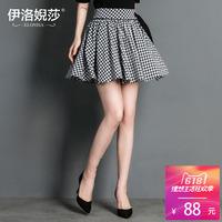 格子短裙女2018夏装新款韩版显瘦蓬蓬裙伞裙时尚减龄百褶半身裙夏