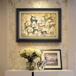 特价包邮钻石绣满钻欧美玄关发财鹿八鹿图客厅餐饮静吧墙面装饰画