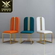 后现代餐椅简约家用餐厅创意时尚咖啡厅软包靠背金属欧式轻奢椅子