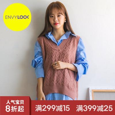 韩国22xx正品2018秋季新款ENVYLOOKV领麻花纹套头针织马甲
