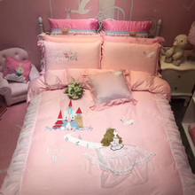 Princess ins Fengquan Cotton Embroidery Girl Heart Four Sets Pure Cotton Quilt Set Bedding Three Sets for Children and Girls