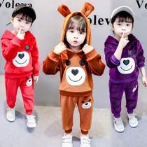 女童洋气套装新款1-5岁2女宝宝秋冬装3儿童4秋季加绒加厚两件套冬