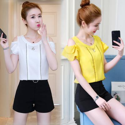 纯色雪纺衫2019夏季新款女装韩版时尚露肩短袖时髦短裤甜美两件套
