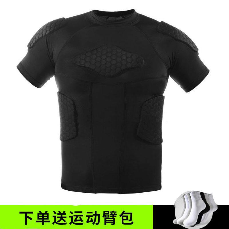 篮球护膝防撞短袖蜂窝运动护具全套装备训练背心短裤科比紧身服男