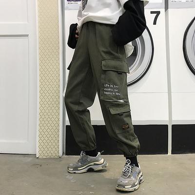 秋季韩版2018新款宽松bf街头嘻哈复古学生大口袋工装束脚裤男女潮
