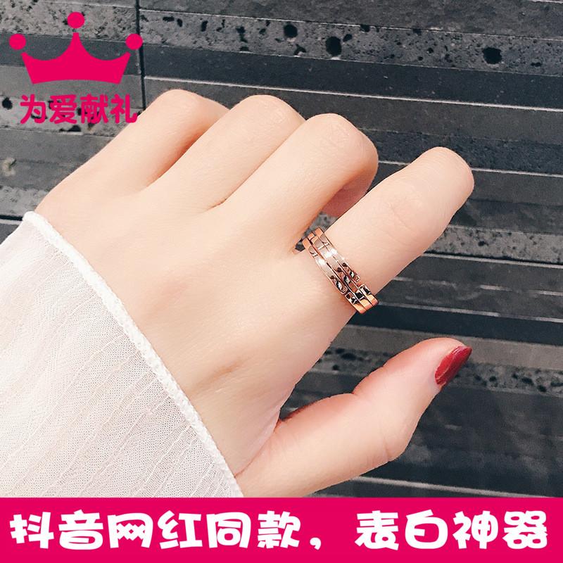 抖音同款可项链戒指两用个性百搭情侣套戒玫瑰金锁骨链指环配饰
