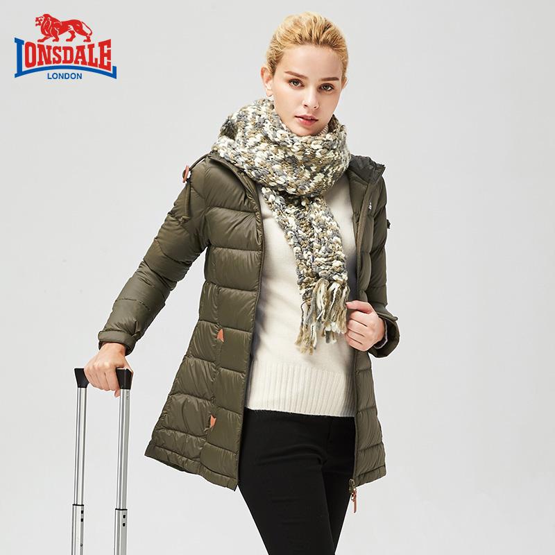龙狮戴尔2017秋冬新款轻薄羽绒服女修身中长款连帽保暖外套鹅绒服