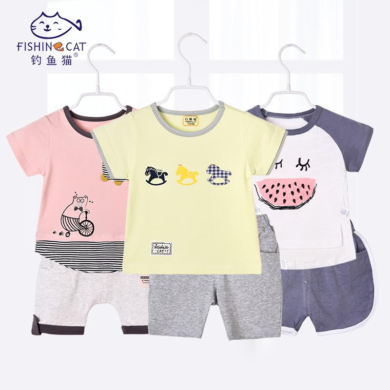 婴儿短袖套装6个月-2岁宝宝短袖套装婴儿衣服夏卡通棉短袖两件套
