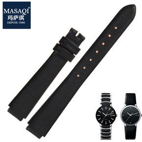 玛萨琪 代用雷达RADO晶萃真皮表带凸口女手表配件男牛皮表带黑色