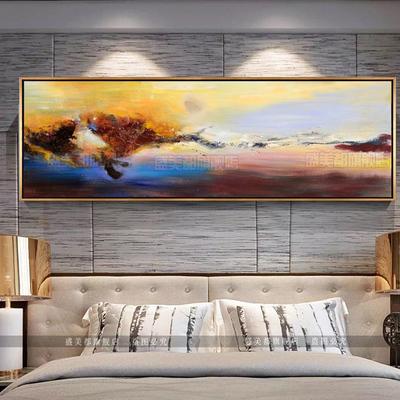 赵无极抽象油画手绘美式客厅沙发背景墙卧室床头挂装饰画纯手工画有假货吗