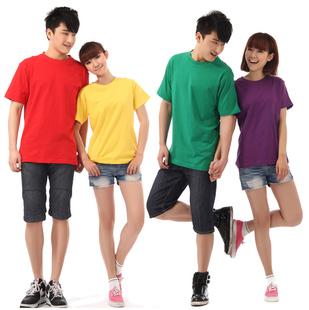 男女情侣空白广告衫 夏季短袖 定做班服印字印照片图 纯棉圆领T恤衫