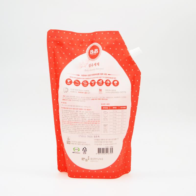 韩国原装进口BB婴幼儿抗菌洗衣液袋装洗衣剂1300ml补充装