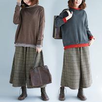 25-30岁胖女人宽松大码胖姐200斤长袖高领卷边藏肉减龄针织打底衫