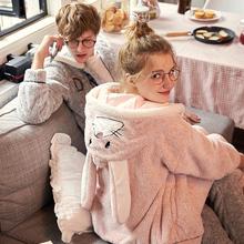 果壳珊瑚绒情侣睡衣秋冬季可爱卡通法兰绒男士 女冬家居服套装