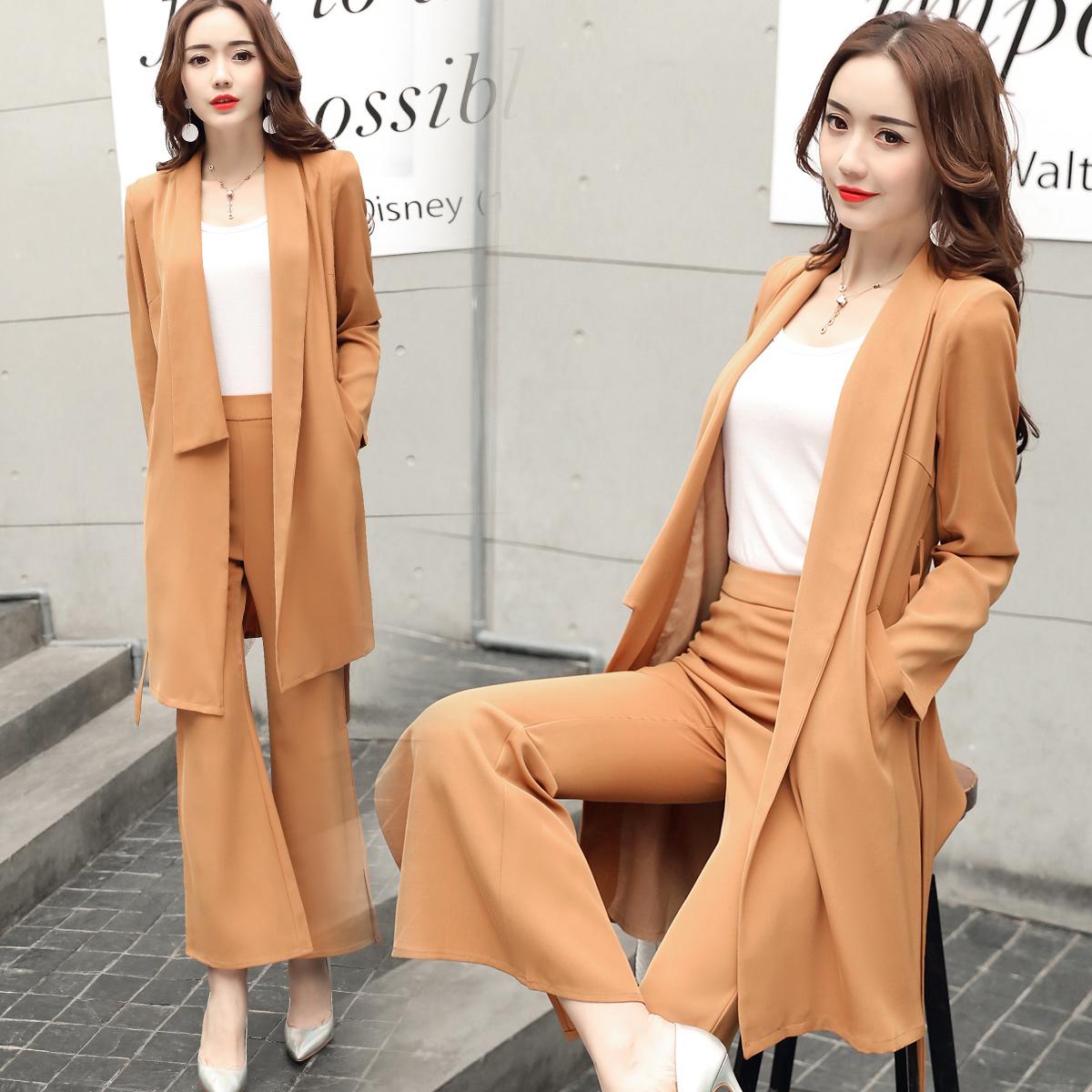 [主推]套装/套裙2018年春季纯色时尚优雅气质修身潮流开衫