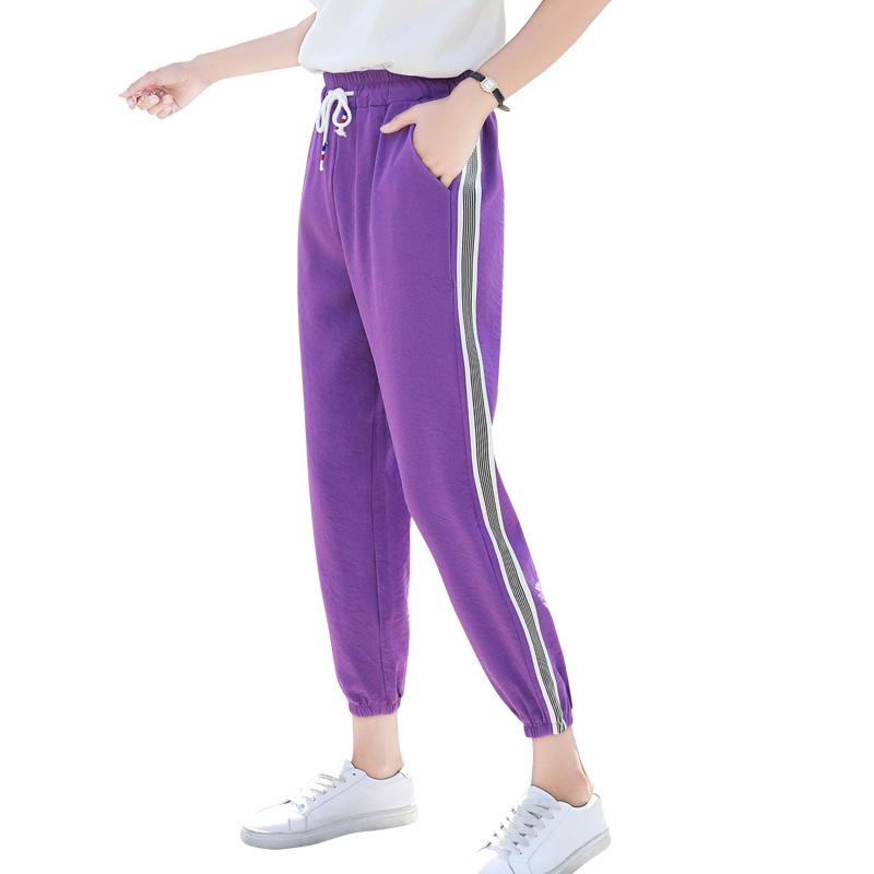 紫色裤子女学生宽松韩版ulzzang百搭运动裤女夏季薄款2018新款春