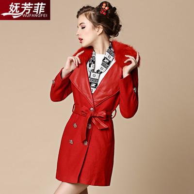 妩芳菲2017冬装新款韩版毛领中长款PU拼接毛呢外套大衣呢子女棉衣