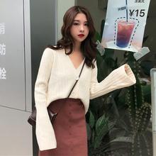气质套装女秋新款时尚宽松V领针织开衫上衣+高腰黑色开叉半身裙子