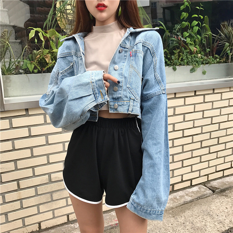 Summer new women's bat sleeves buckle loose thin students wild short long sleeve cattle