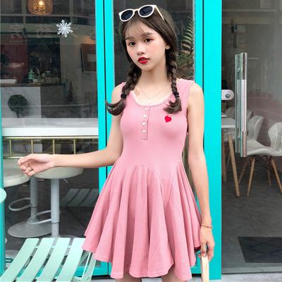 2018夏装新款韩版学院风无袖爱心刺绣连衣裙修身显瘦针织吊带裙女