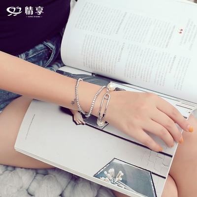 情享人造珍珠三件套手镯冷淡风手链女韩版简约个性潮人时尚手饰品