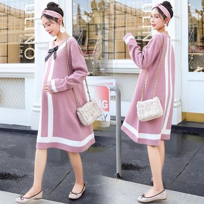 孕妇毛衣秋冬装中长款时尚韩版宽松针织上衣外穿打底毛衣裙2018新