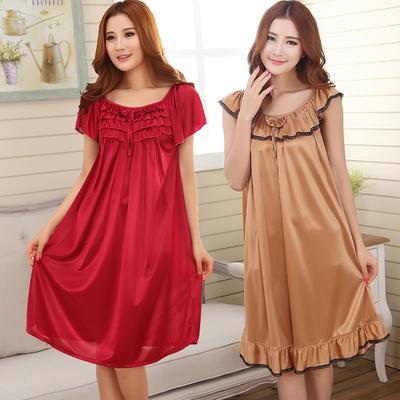 睡衣女士性感睡裙加大码夏季吊带长裙胖mm200斤冰丝长款短袖夏天