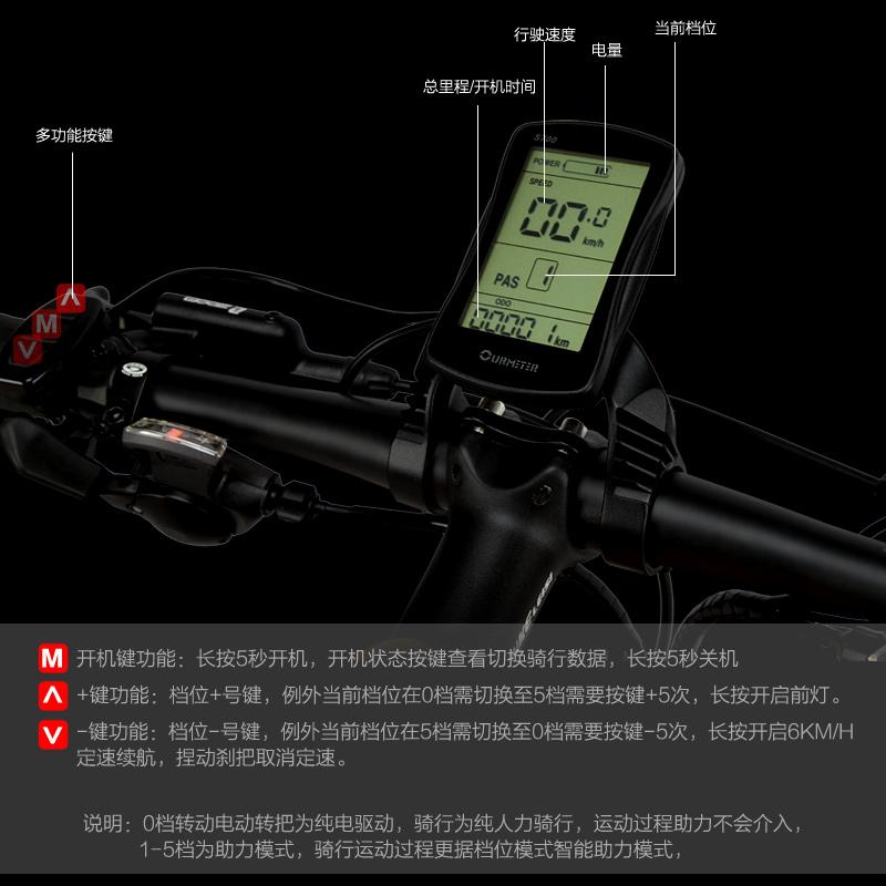 蓝克雷斯电动自行车 肥胎全地形折叠电动雪山地车5档助力自行车