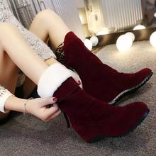 短筒雪地靴女韩版短靴坡跟女鞋2018春季新款棉鞋内增高中筒棉靴子