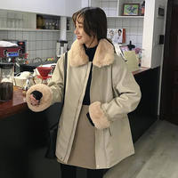 Autumn and winter women's Korean version of the long section loose plush lapel PU leather motorcycle clothing plus velvet thick leather jacket jacket