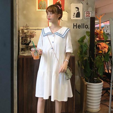 2019夏季新款韩版甜美小清新裙子高腰显瘦小个子拼接连衣裙女学生