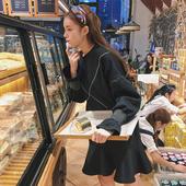2017新款秋装女装韩版宽松学院风甜美宽松荷叶边中长款长袖连衣裙
