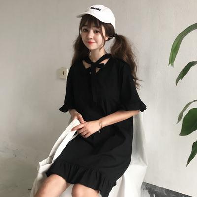 夏装女装韩版气质V领绑带中长款短袖荷叶边连衣裙学生长裙显瘦潮
