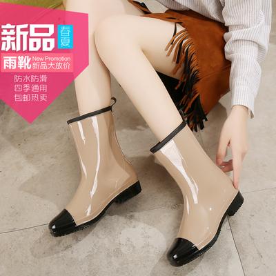 春秋雨鞋女中筒韩国时尚雨靴加绒成人大码套鞋工作防水鞋防滑胶鞋