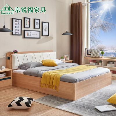 京锐福北欧现代简约板式床1.51.8主次卧气动高箱储物经济型双人床
